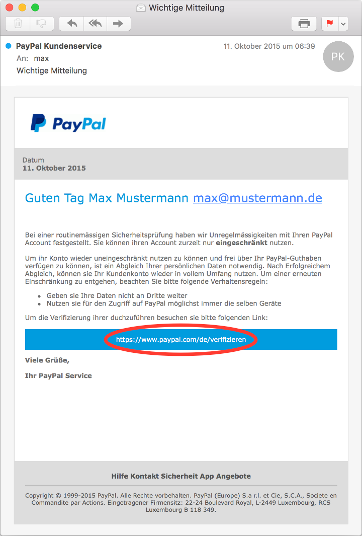 PayPal Phishing Beispiel Mail-Client